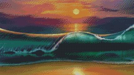 Wave in the Sunset DIY 5D Diamond Painting Cross Stitch