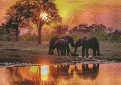 Family of Elephants DIY 5D Diamond Painting Cross Stitch