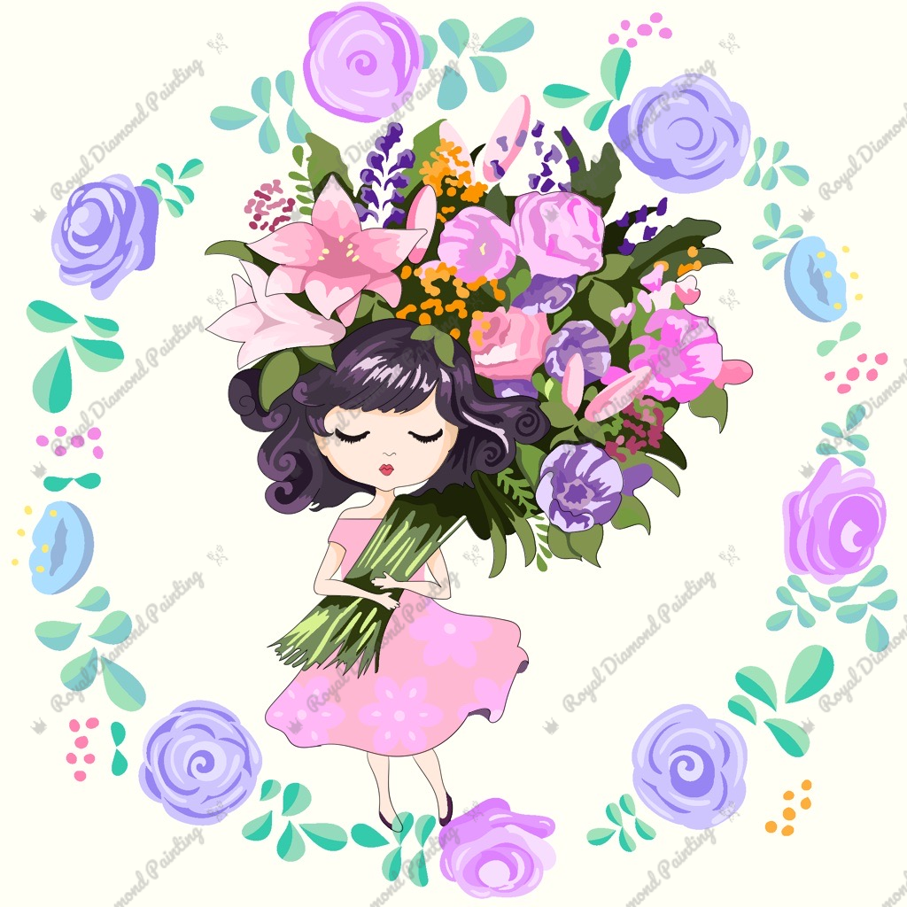 Lil Miss Bouquet DIY 5D Diamond Painting Cross Stitch