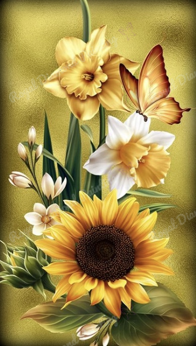 Sunflower & Daffodils DIY 5D Diamond Painting Cross Stitch