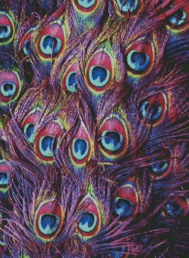 Purple Peacock Feathers DIY 5D Diamond Painting Cross Stitch