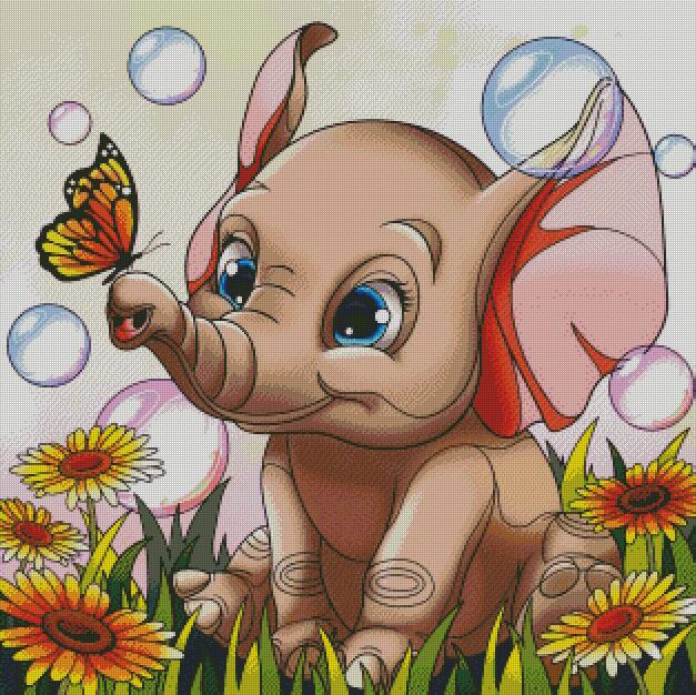 Baby Elephant DIY 5D Diamond Painting Cross Stitch