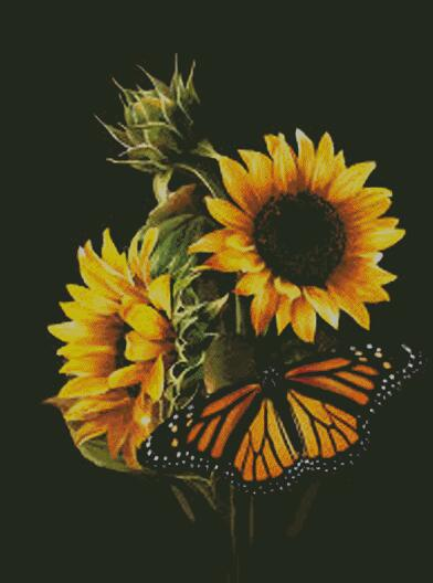 Sunflower Butterfly #2 DIY 5D Diamond Painting Cross Stitch