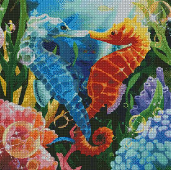 Heart of Seahorses DIY 5D Diamond Painting Cross Stitch