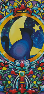 Night Cat Stained Glass  DIY 5D Diamond Painting Cross Stitch