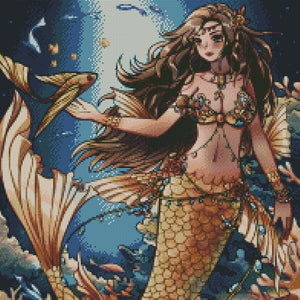 Golden Mermaid DIY 5D Diamond Painting Cross Stitch