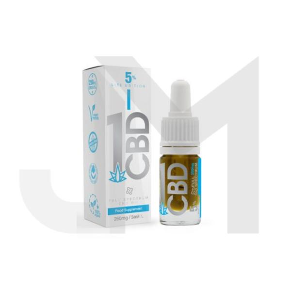 1CBD 5% Pure Hemp 250mg CBD Oil Lite Edition 5ml