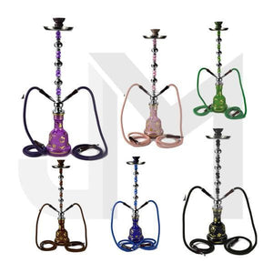 Large 2 Hose Shisha Hookah - Assorted Colours