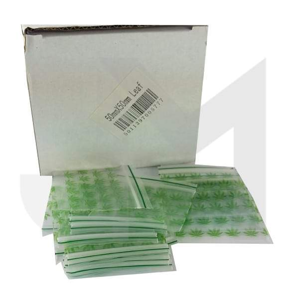 5 x 50mm x 50mm Green Leaf Baggies