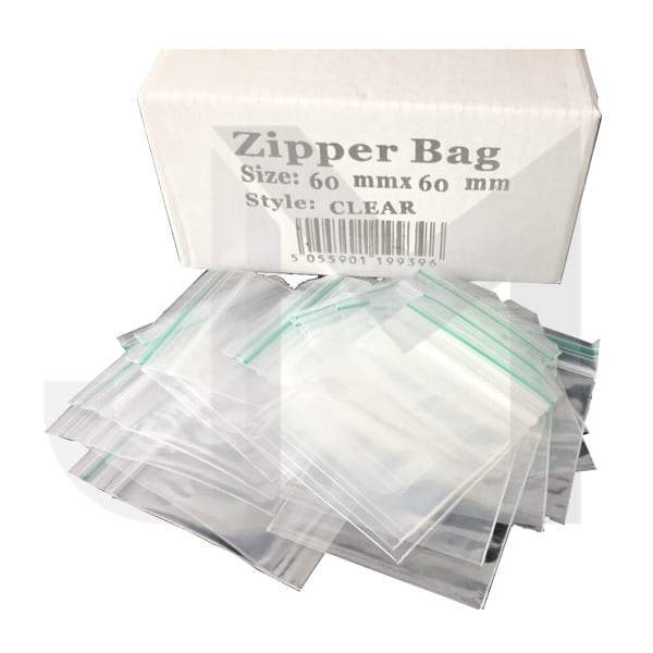 5 x Zipper Branded 60mm x 60mm Clear Bags