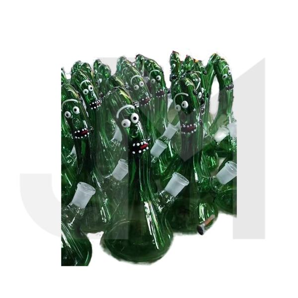 "6 x 9"" Green Face Design Glass Bong - 352-354"