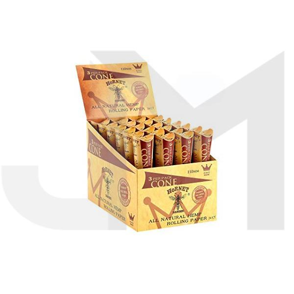 24 x Hornet King Size 3 piece Natural Hemp Pre-rolled Cones