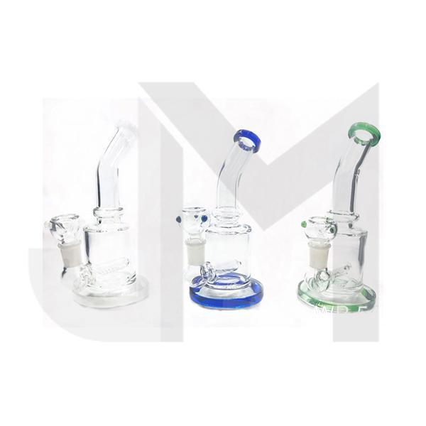 "6 x 7"" Mix Colour Curved Glass Bong - WP-54"