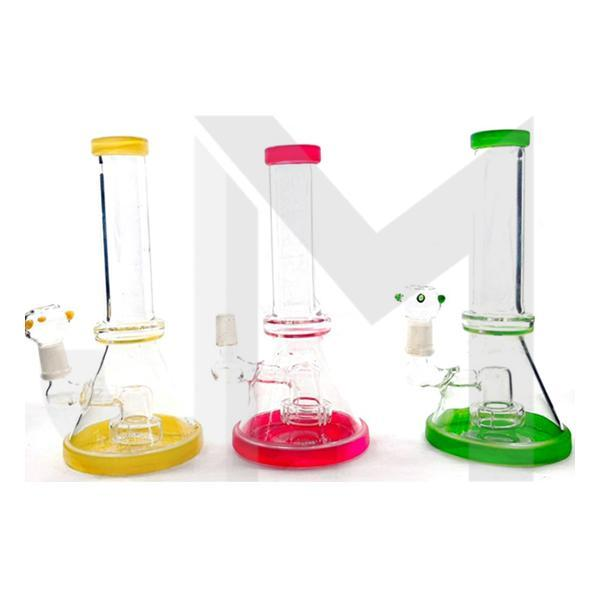 "3 x 8"" Small Coloured Base Glass Bong - SV-19"
