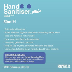Anti-Bacterial Hand Sanitiser Gel 50ml