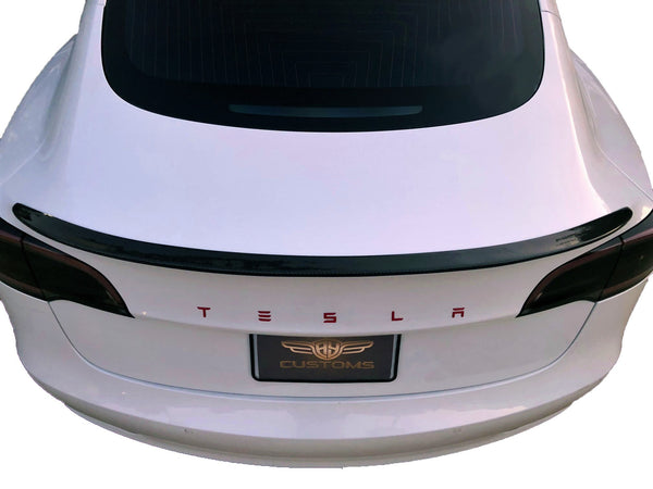 Tesla Model 3 Performance Style Real Carbon Fiber Trunk Spoiler Wing Deck Lip Easy Install