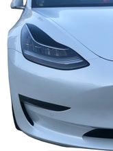 Load image into Gallery viewer, Tesla Model 3 Headlight Black Gloss Smoked Vinyl Film Covers Eyebrow Overlay Pair