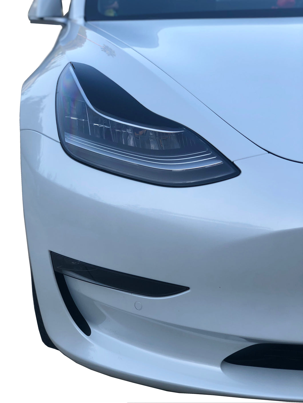 Tesla Model 3 Headlight Black Gloss Smoked Vinyl Film Covers Eyebrow Overlay Pair