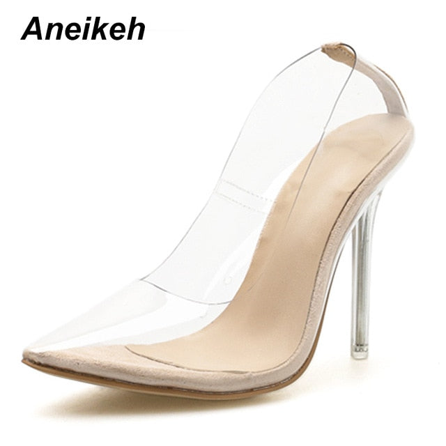 b7f986022140 ... Aneikeh 2019 New Women Pumps PVC Transparent High Heels Sexy Pointed Toe  Leopard Grain Party Shoes ...
