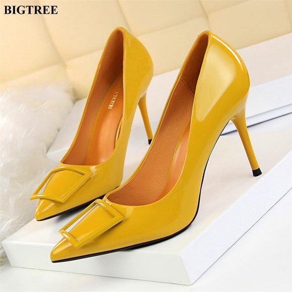2019 New Women s Concise Patent Leather Shallow High Heels Shoes 8423eafdbf3e
