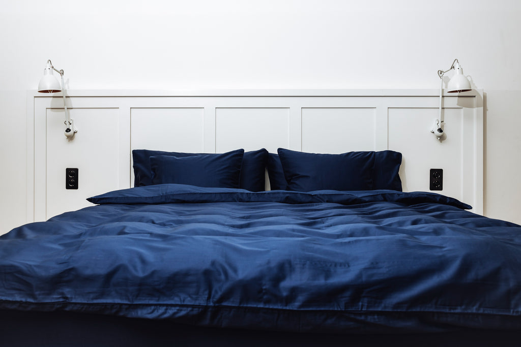 Navy Bedding Set in Sateen www.marsoliving.com