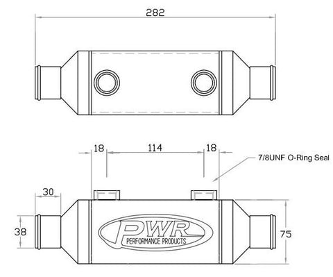 "PWR Inline Heat Exchanger - 3"" x 3"" x 6"" 38.0mm Water Outlets"