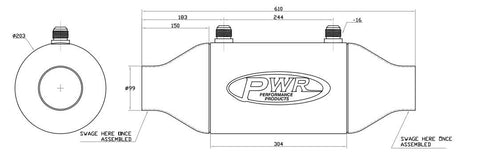 "PWI6029 - 8"" (D) x 12"" (L) - Liquid to Air Barrel Intercooler"