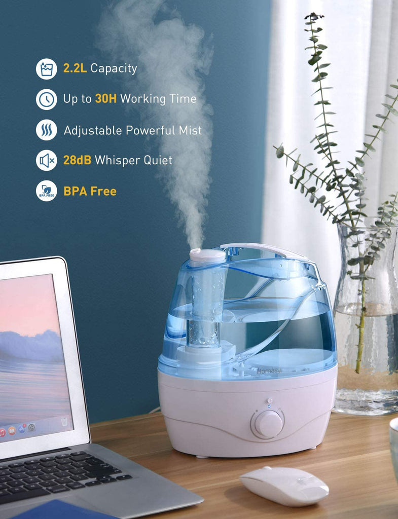 Homasy [Upgraded] Cool Mist Humidifiers, 28dB Quiet Humidifiers BPA-Free Air Humidifiers for Bedroom, Independent Power Adapter, 30H Work Time, Blue