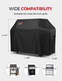 VicTsing Grill Cover, 60-Inch Waterproof BBQ Cover, 600D Heavy Duty Gas Grill Cover for Weber, Brinkmann, Char Broil, Holland and Jenn Air (Dust & Water Resistant, Weather Resistant, Rip Resistant)