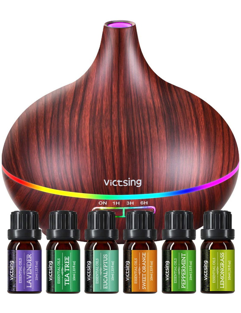 VicTsing by Homasy 500ML Essential Oil Diffusers Set with Oils, Aromatherapy Diffuser with 14 Color Lights, Aroma Diffuser Humidifier Set Home, Brown