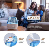 Homasy 2200mL Cool Mist Humidifiers, Ultrasonic Humidifiers with Large Water Tank, 24 Working Hours, Waterless Auto-Off, 28dB Quiet Air Humidifier for Bedroom, Babyroom, Living Room-White&Blue