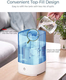 Homasy 4.5L Cool Mist Humidifiers, Top Filling Humidifiers for Bedroom, 28dB Quiet Ultrasonic Humidifier for Baby Room, Fresh Air Humidifier, Sleep Mode & Auto Shut Off, Up to 30 Hours,Blue