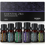 VicTsing Essential Oils, TOP 6 Pure Aromatherapy Oils Set, Essential Fragrance Oil Set for Women, Men, Diffuser, Humidifier(Orange, Lavender, Tea Tree, Lemongrass, Eucalyptus, Peppermint, 10ml/bottle)
