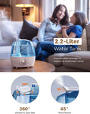 Homasy Cool Mist Humidifiers, 28dB Whisper-Quiet Operation Humidifier, Easy to Clean and Control Air Humidifier for Bedroom, Auto Shut-Off, 24 Hours Running Time, Max 180ml/H Mist Output, Blue