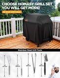 Homasy Grill Cover with Spatula, Fork, Brush & Tongs, 58-Inch Heavy Duty Waterproof BBQ Gas Cover with Stainless Steel BBQ Grilling Tools Set