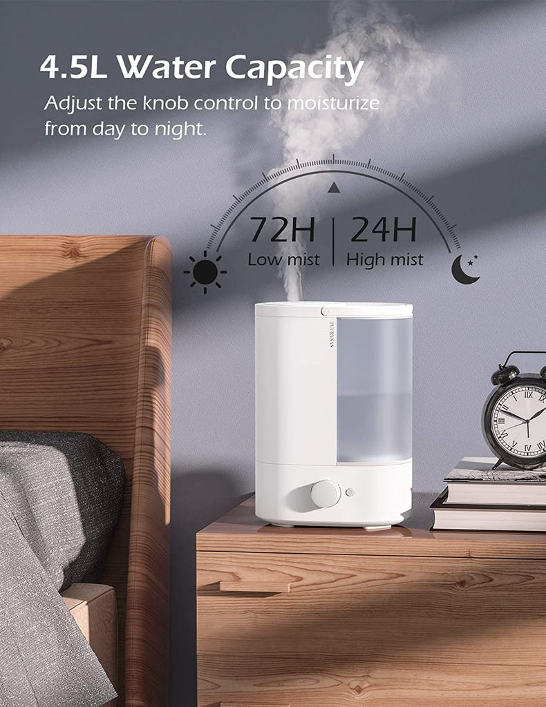 PUURVSAS 4.5L Cool Mist Humidifier, BPA-Free Humidifiers for Bedroom, 25dB Ultra Quiet Essential Oil Diffuser Humidifiers, Last up to 72H, Easy to Clean, Auto Shut Off, Home, Office