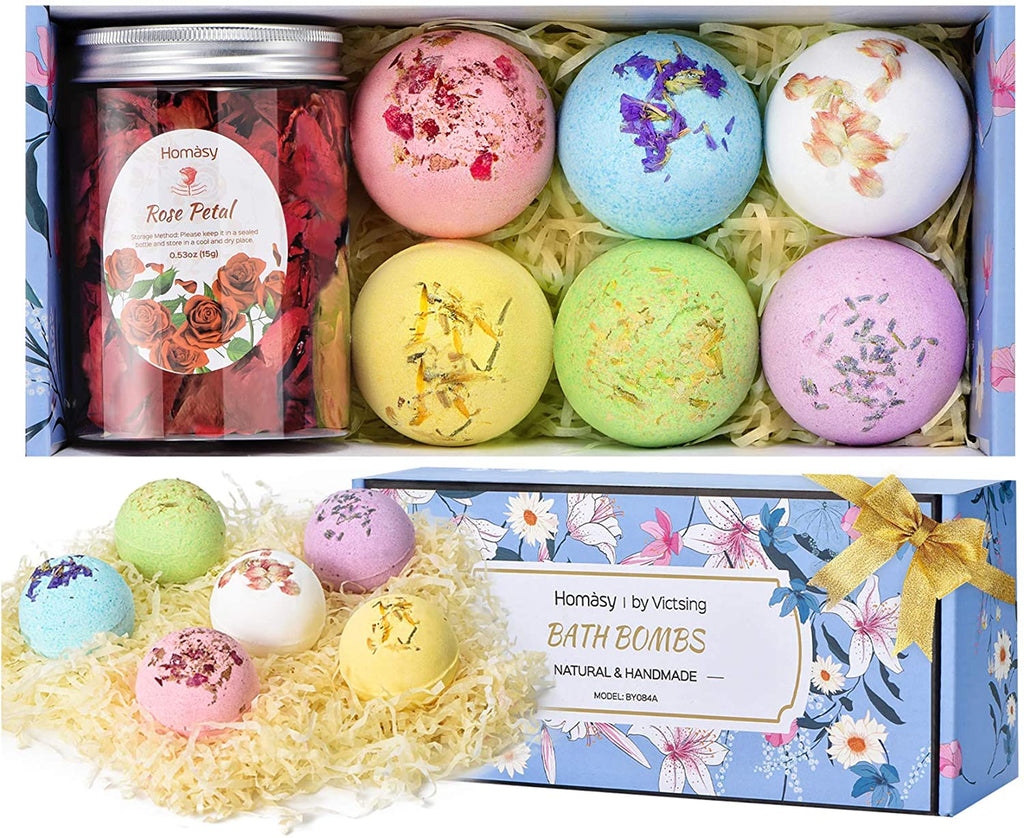 Homasy Bath Bombs & Dried Rose Petals, 6 Pcs Bubble Bath Bomb Gift Set for Women, Fizzies SPA Bath, Birthday Valentines Christmas Gifts for Kids, Girls, Mom