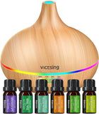 VicTsing 500ml Essential Oil Diffuser with Oils, Aromatherapy Diffuser with Essential Oil Set, Diffusers for Essential Oils with Auto Shut-Off, 4 Timer, 14 Color Lights, Gift Set for Home, Yellow