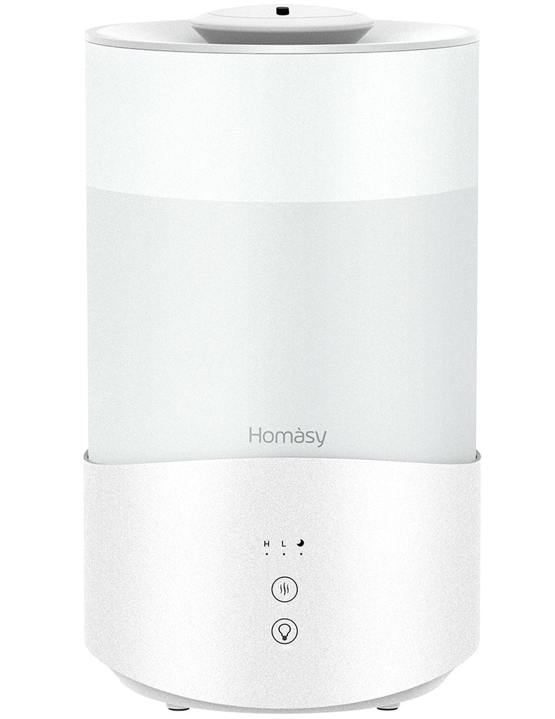 Homasy 4L Cool Mist Humidifier, up to 50H Top-Filling Humidifier for Bedroom, 24dB Quiet Ultrasonic Humidifier Diffuser with Touch Screen, Auto Shutoff, Easy to Use and Clean, White