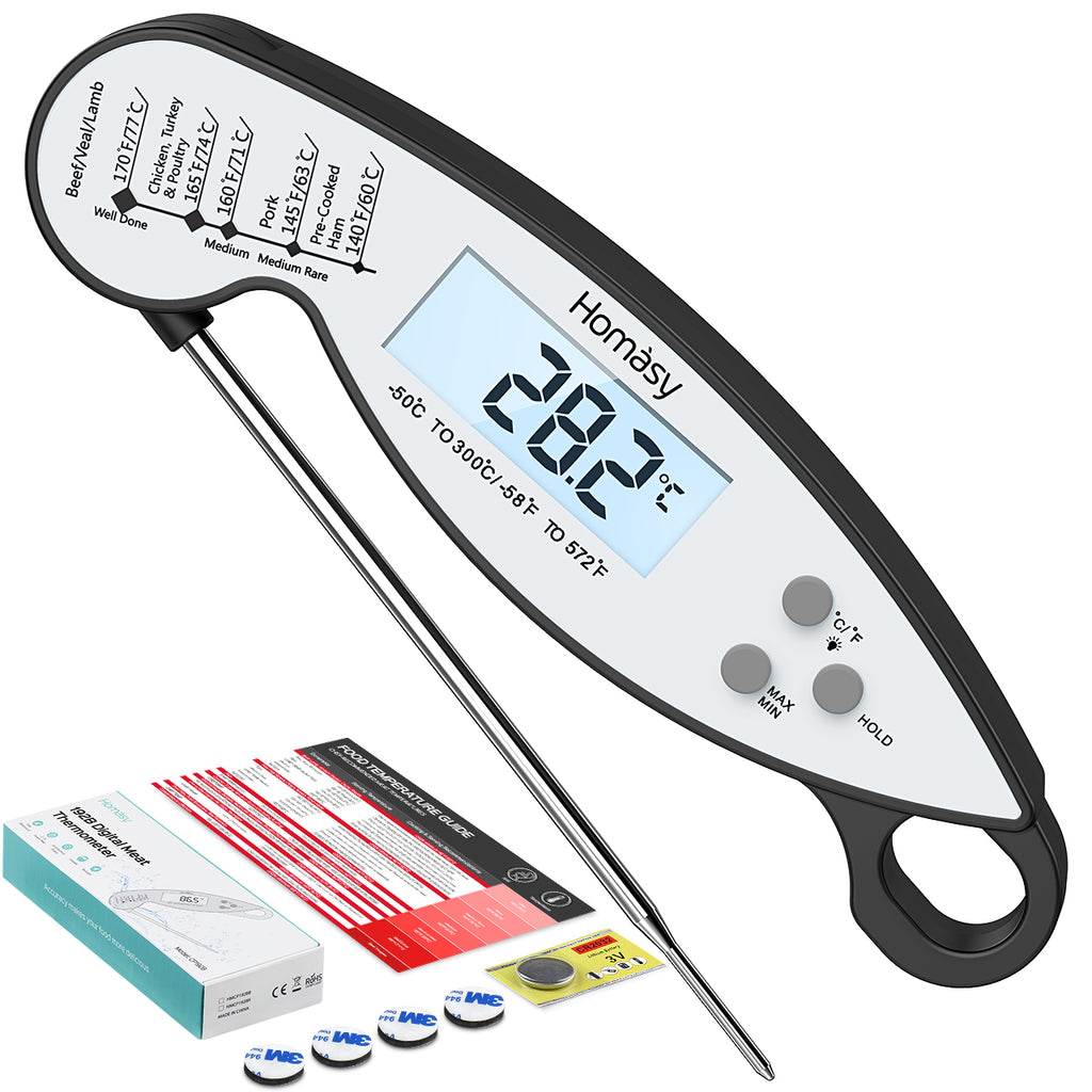 Homasy Upgraded Waterproof Meat Thermometer, 3s Instant Read with Digital Backlight Display Cooking Thermometer, 304 Stainless Steel Foldable Probe for Kitchen Food Candy Turkey BBQ Milk Water