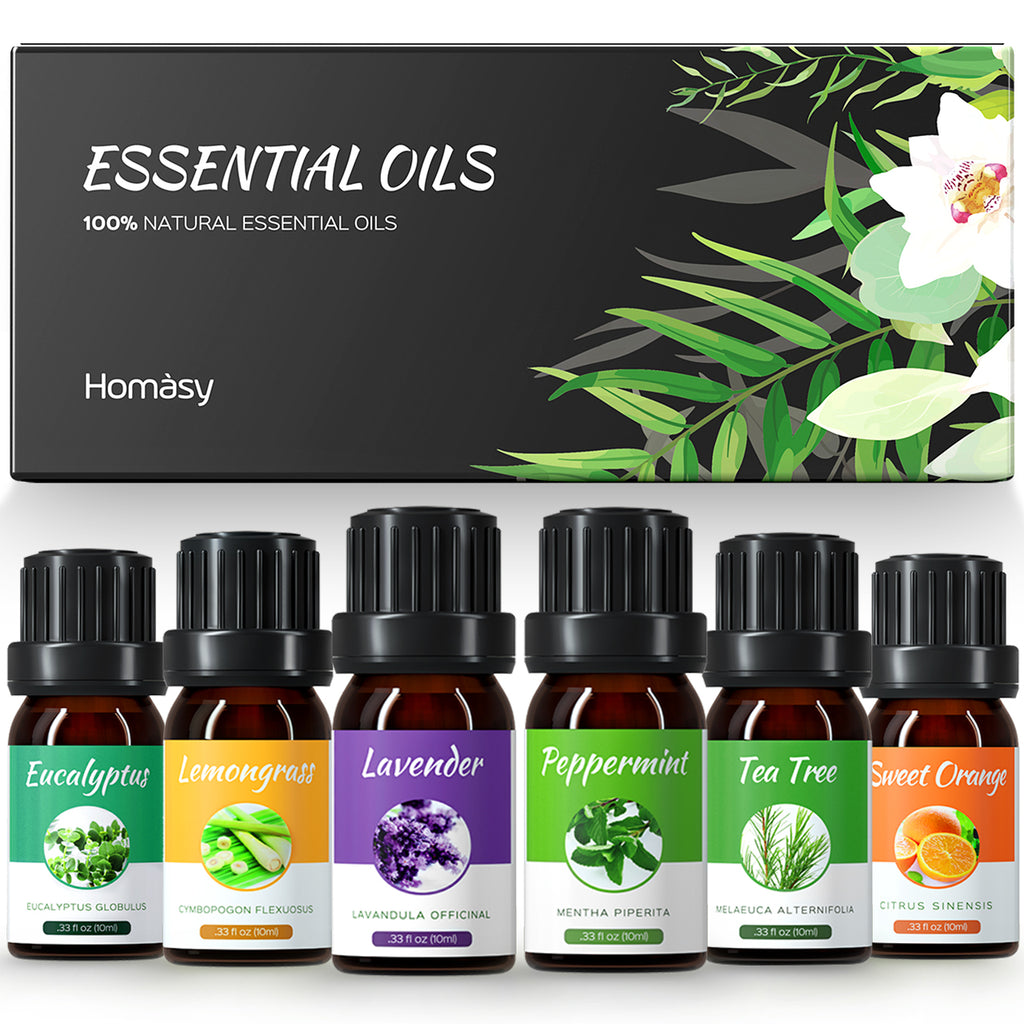 Homasy Essential Oils Set, Top 10x10mL Essential Oils Gift Set, Aromatherapy Essential Oil for Diffuser, Humidifier, Skin Use (Mixed carrier oil), Hair Care, DIY, Lavender, Tea Tree, Eucalyptus, etc