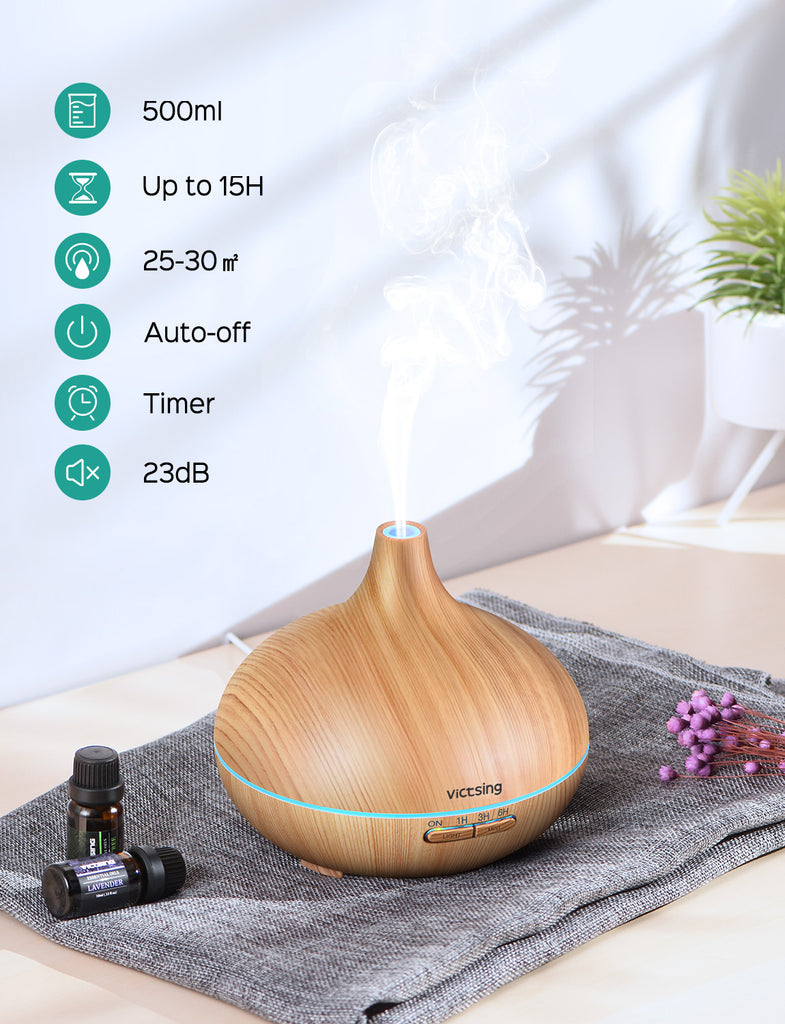 VicTsing 500ml Essential Oil Diffusers for Aromatherapy, Up to 10H Use Cool Mist Aroma Diffuser, 4 Timer Setting, BPA-Free, Waterless Auto-Off, 7 Color LED Lights, for Home, Bedroom-Yellow Wood Grain