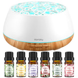 Homasy Essential Oil Diffuser with Oils, 400ml Aromatherapy Diffuser with 6 Floral Scent Pure Oils, 14 Color LED Lights & Waterless Auto-Off, 4 Timers, 3 Mist Mode for Home, Office, SPA