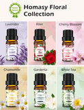 Homasy Floral Essential Oils Set 6 * 10ml, Floral Collection Gift Set, Pure Essential Oils-Lavender, Rose, White Tea, Cherry Blossom, Chamomile, Gardenia for Diffuser, Humidifier, Massage, Skin Care