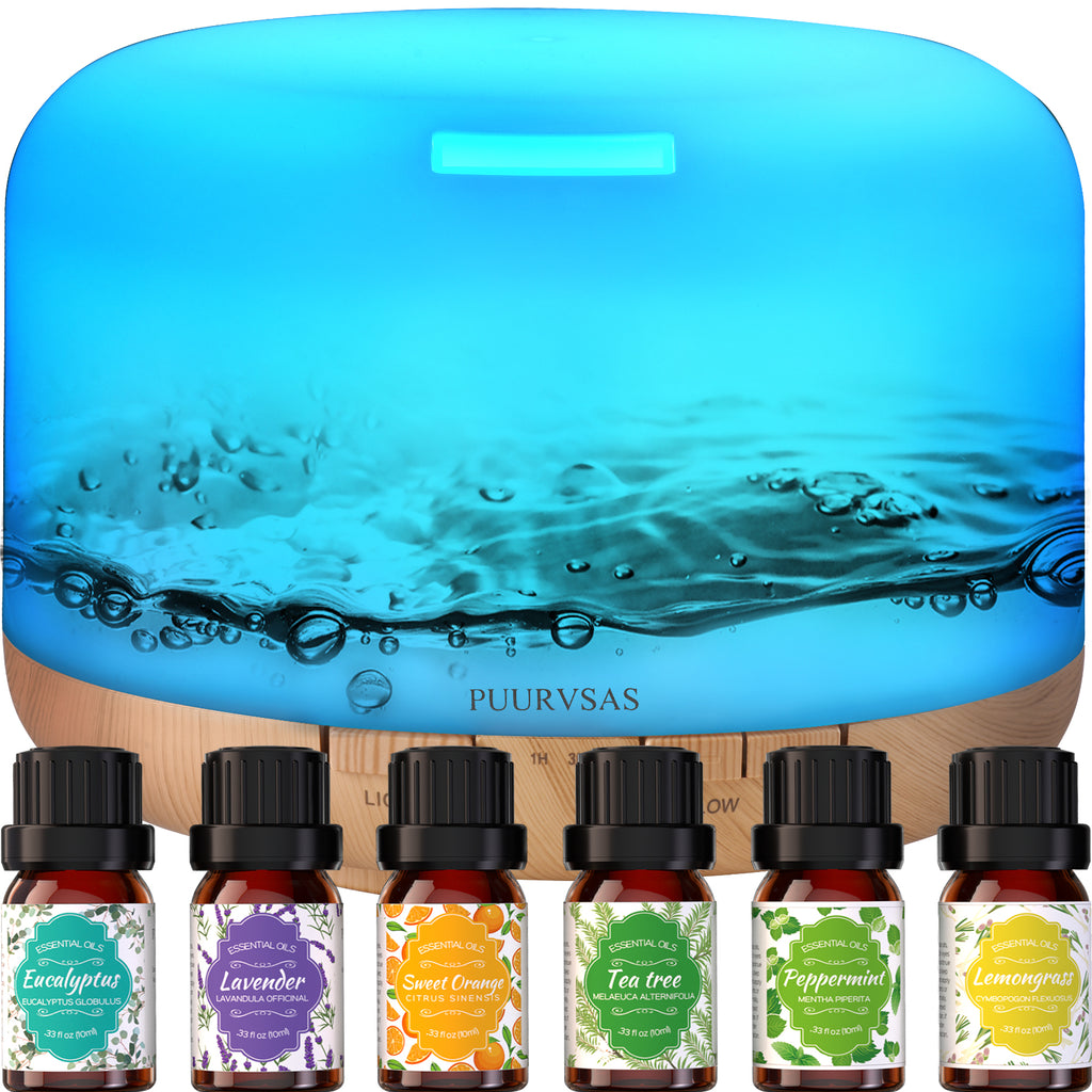 PUURVSAS 500mL Aromatherapy Oil Diffuser, Essential Oils Diffusers with 6 Essential Oils, 4 Timer Setting, 8 Colour Lights, Waterless Auto Shut-Off