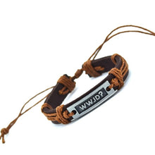 Load image into Gallery viewer, WWJD Leather Bracelet
