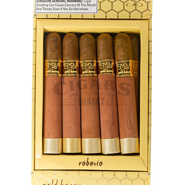 Load image into Gallery viewer, Cao Flavours Gold Honey Robusto Box Open