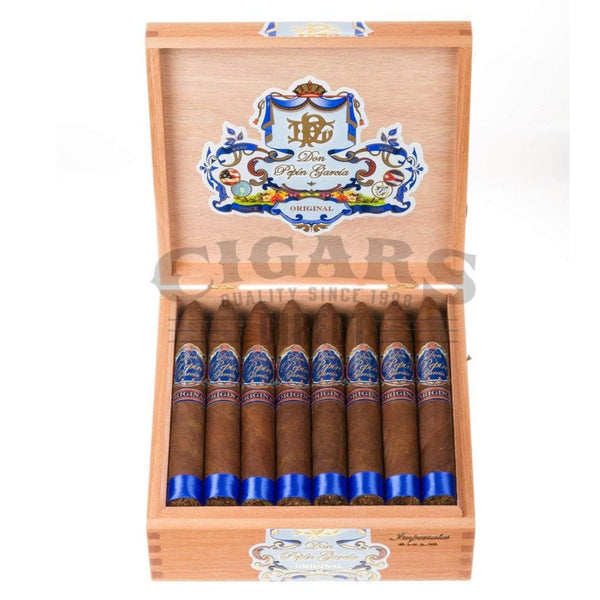 Load image into Gallery viewer, My Father Cigars Don Pepin Garcia Blue Imperiales Torpedo Box Open