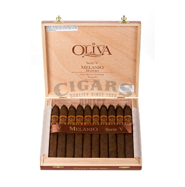 Load image into Gallery viewer, Oliva Serie V Melanio Maduro Torpedo Box Open