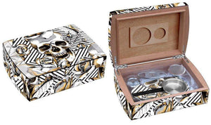 Skull and Roses Travel Humidor Set Side By Side